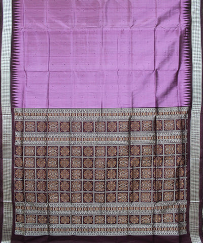 Handwoven Bomkai Silk Saree of Sonepur in African Violet and Coffee