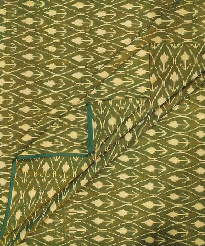Olive green Cotton Handwoven Pochampally Ikat Fabric