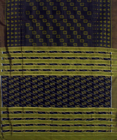 Black Moss Green Handloom Khandua Silk Saree