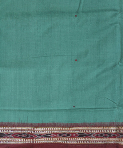 Handwoven Bomkai Cotton Saree in Camouflage Green and Maroon