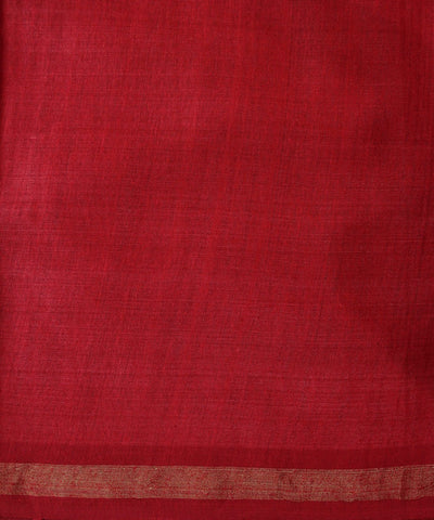 Handwoven Eri Silk Saree in Mehendi Green and Red
