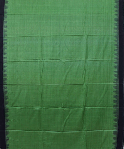 Handwoven Eri Silk Saree in Parrot Green and Black