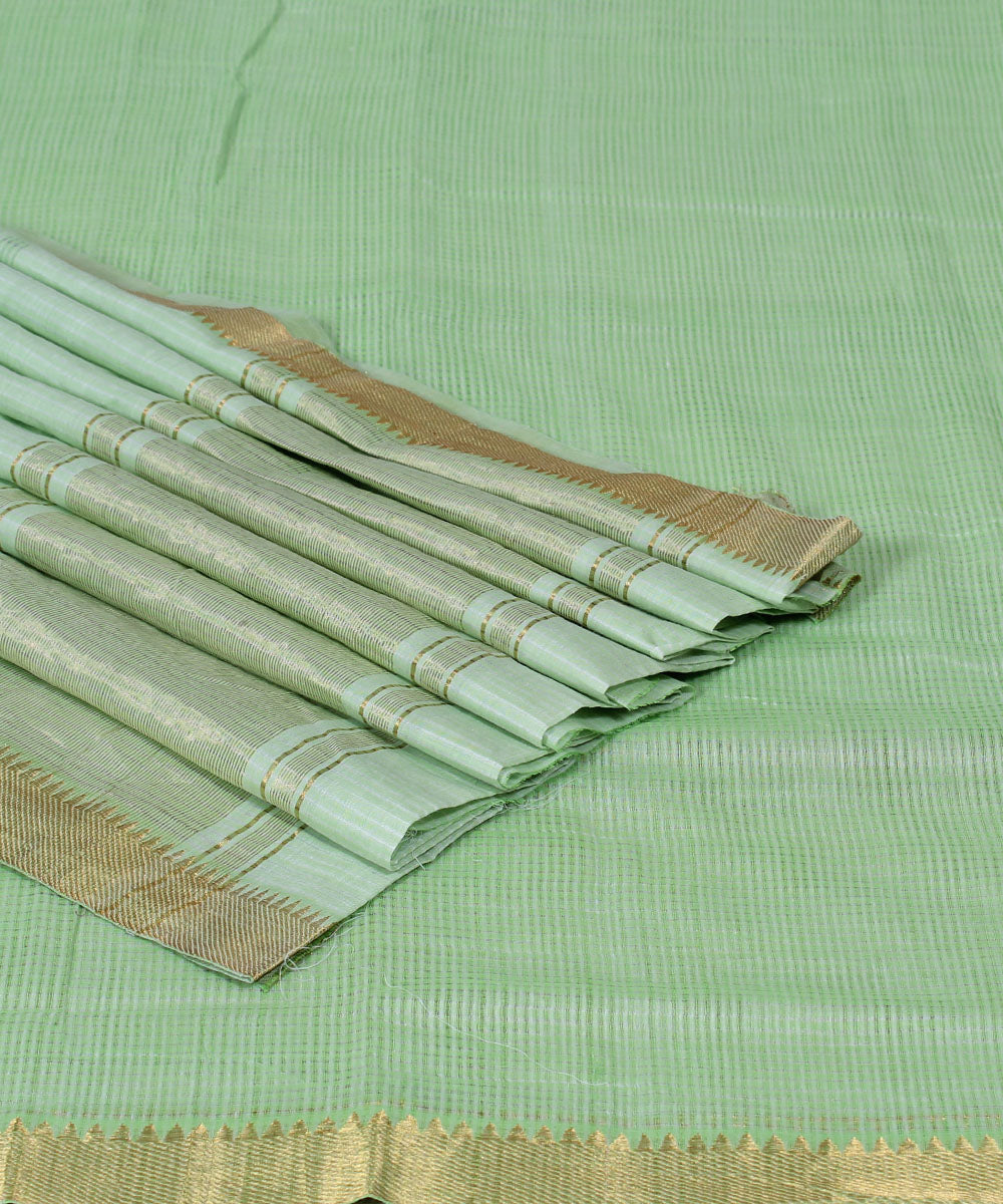 Mint Green Mangalagiri Handwoven Saree