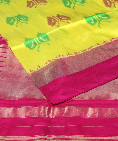 Yellow Butterfly Handloom Ikkat Silk Saree