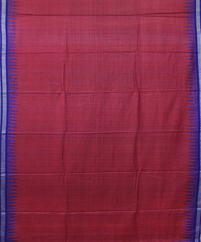 Handwoven Eri Silk Saree in Maroon and Blue