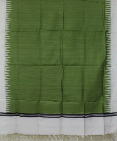 Handwoven Eri Silk Dupatta of Gopalpur in Mehendi Green and White
