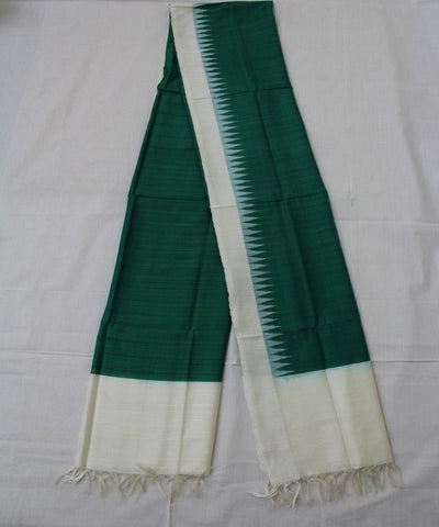 Handwoven Eri Silk Dupatta of Gopalpur in Green and White