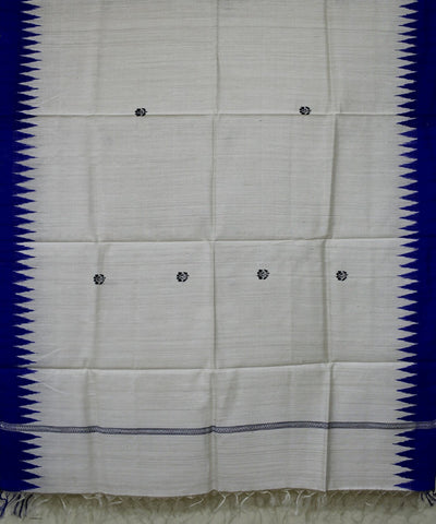 Handwoven Eri Silk Dupatta of Gopalpur in Offwhite and Blue