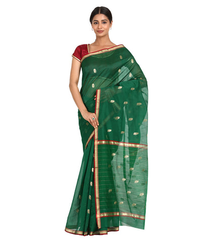 Chanderi Dark Green Handwoven Sico Saree