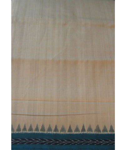 Traditional Cream and Sea Green Cotton Saree