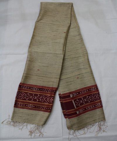 Handwoven Kantia Tussar Silk Dupatta of Gopalpur in Offwhite and Maroon
