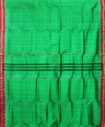 Handwoven Silk Joda of Nuapatna in Green and Red