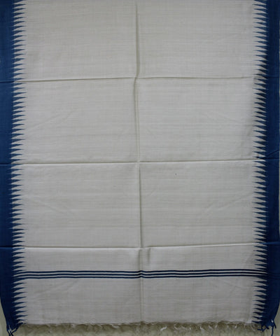 Handwoven Eri Silk Dupatta of Gopalpur in White and Sky Blue
