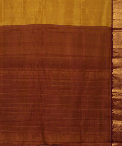 Mustard Brown Mangalagiri Handwoven Saree