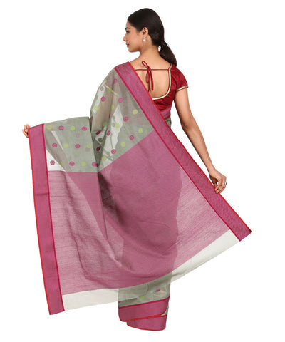 Grey and Pink Handwoven Chanderi Sico Saree