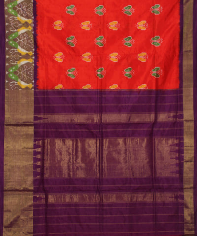 Red Purple Handloom Ikkat Silk Saree