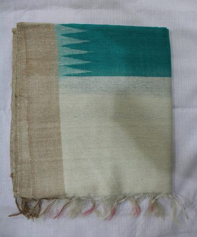 Handwoven Eri Silk Dupatta of Gopalpur in Sea Green and Offwhite