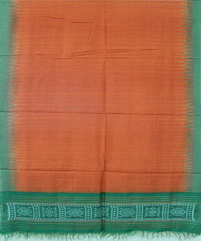 Handwoven Eri Silk Dupatta of Gopalpur in Rust & Green