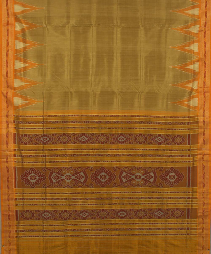 Mustard Yellow Golden Khandua Silk Saree