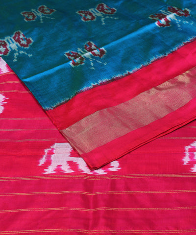 Steel Blue Handwoven Ikkat Silk Saree