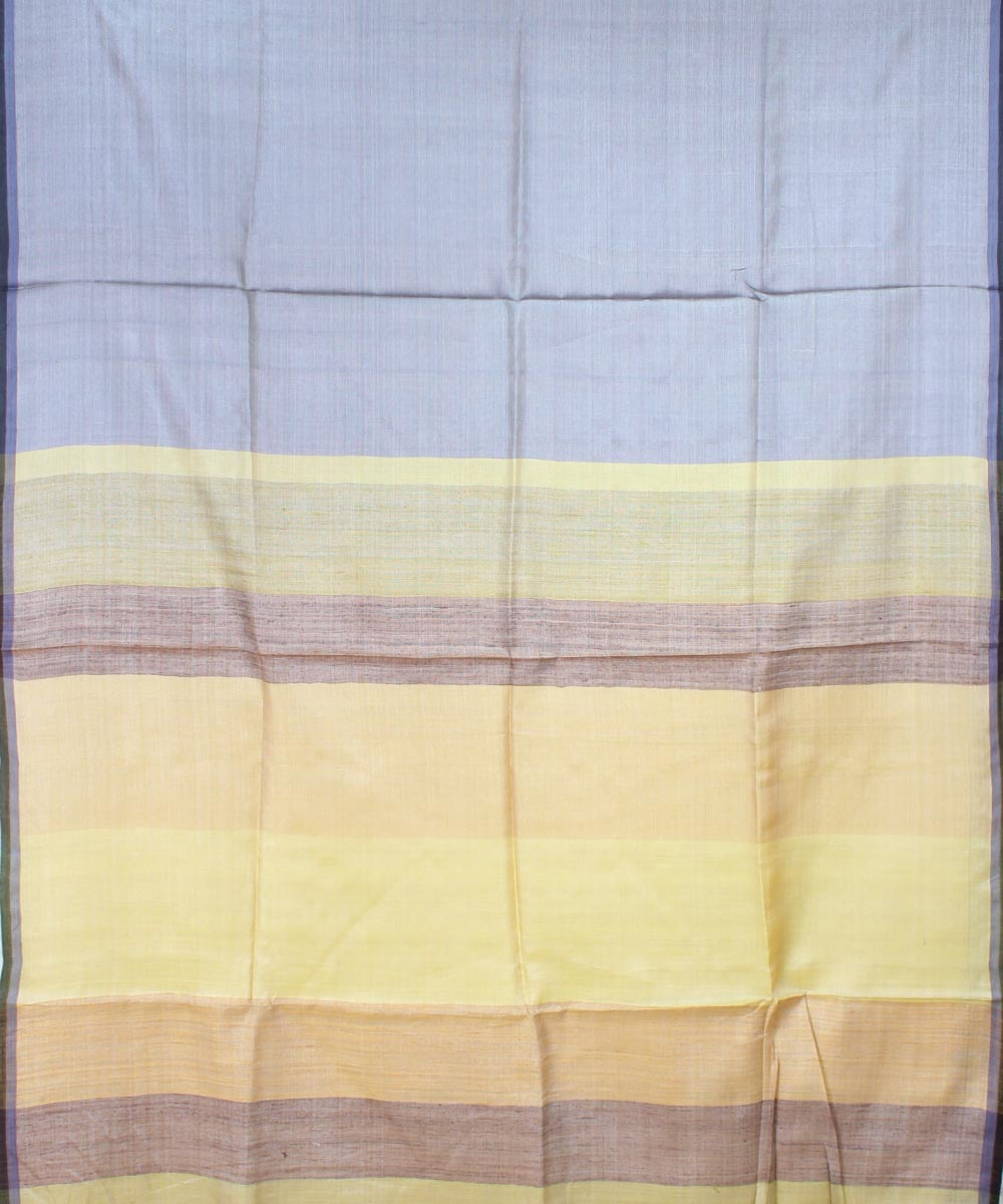 ECOTASAR Gray & Yellow Handwoven Tussar Saree
