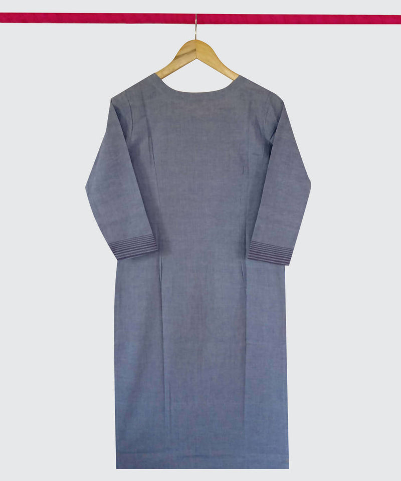 Blue Grey Print Handspun Handwoven Cotton Kurti