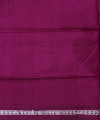 Handwoven Bomkai Silk Saree of Sonepur in White and Dark Pink