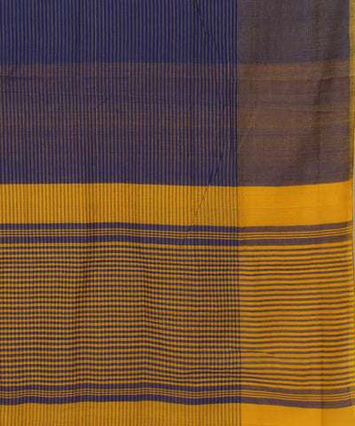 Navy and Yellow Mangalagiri Handloom Saree