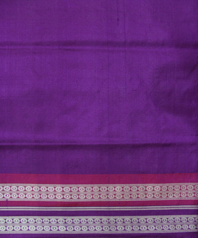 Handwoven Bomkai Silk Saree of Sonepur in White and Violet