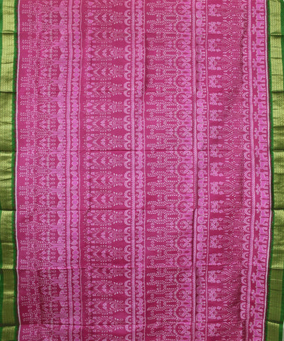Handwoven Tissue Saree in Pink and Green