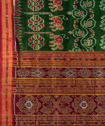 Khandua Green Maroon Handwoven Silk Saree