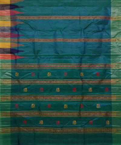 Handloom Blue Green Tussar Silk Saree