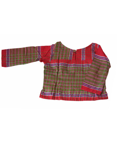 Olive Green Red Handloom Gamcha Checks Cotton Crop Top Blouse