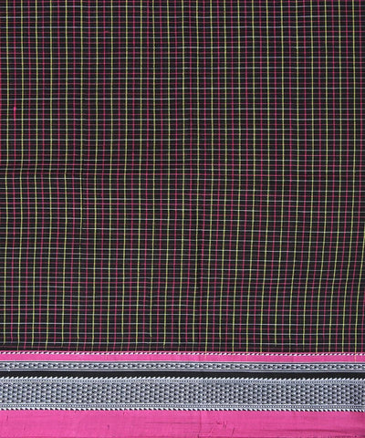 black yellow pink checks handwoven chikki paras border ilkal saree