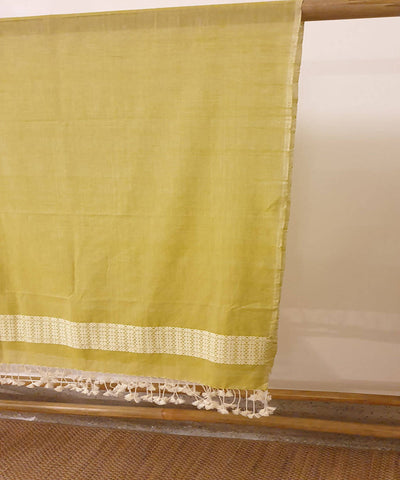 light green assam handloom cotton stole