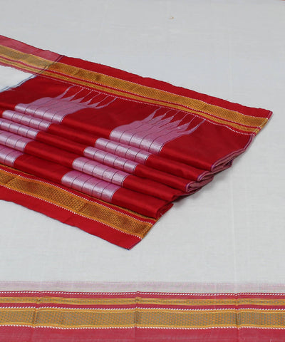 White and Red Handloom Ilkal Saree