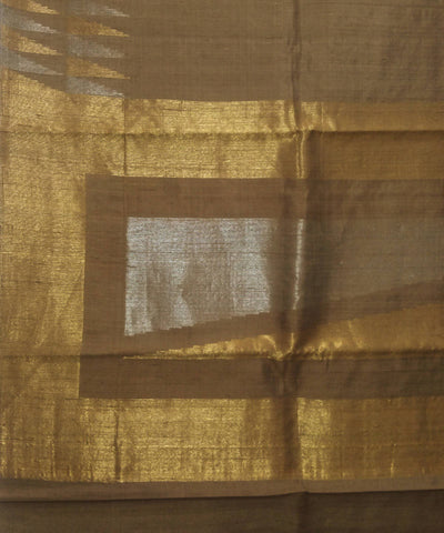 Handwoven Walnut Brown Golden Dupion Silk Saree