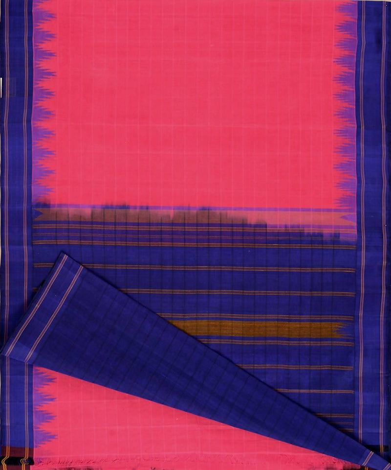 Pink kanchi cotton saree deep blue silk korvai temple border