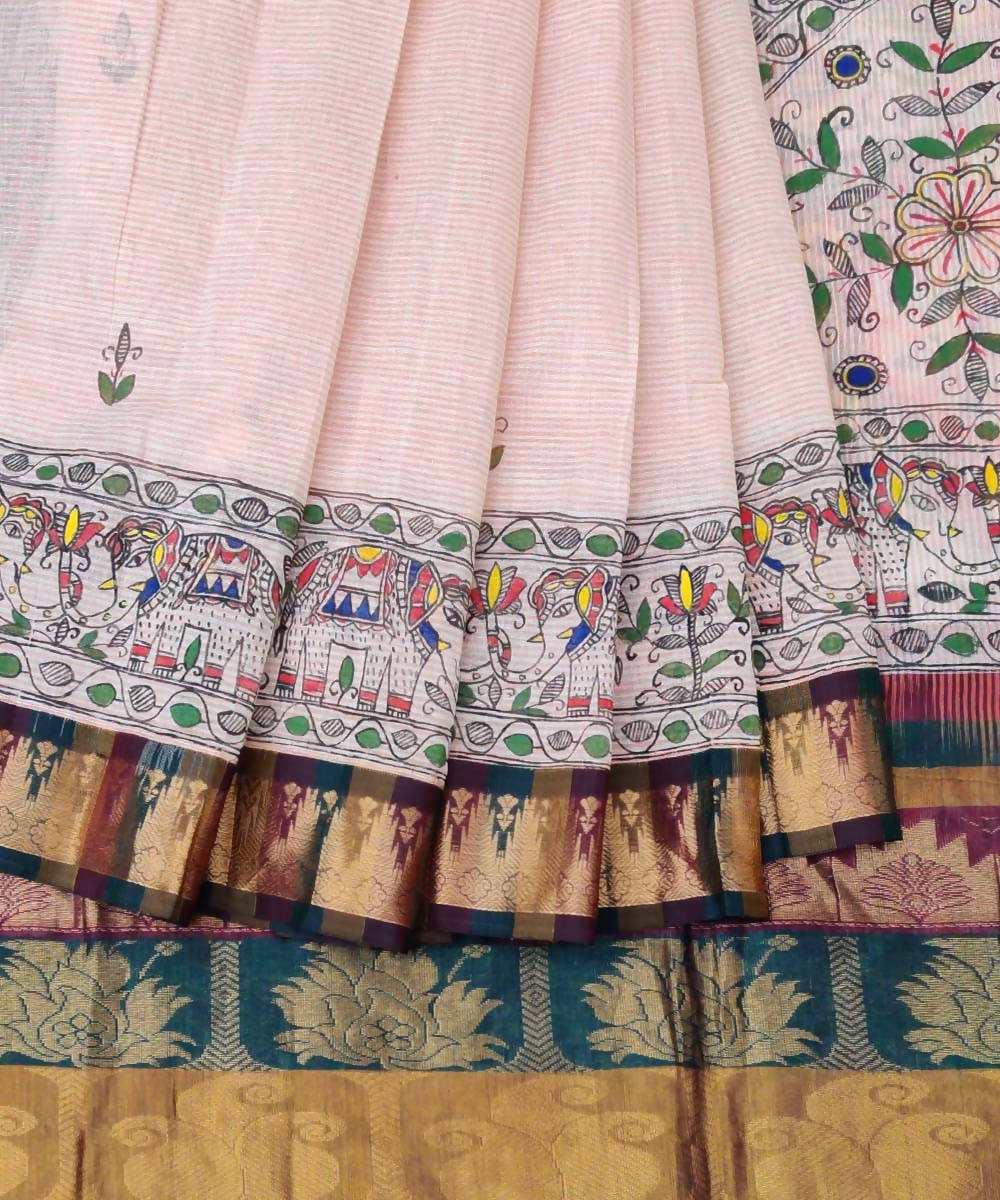 Peach Madhubani Painted Gadwal Cotton Saree