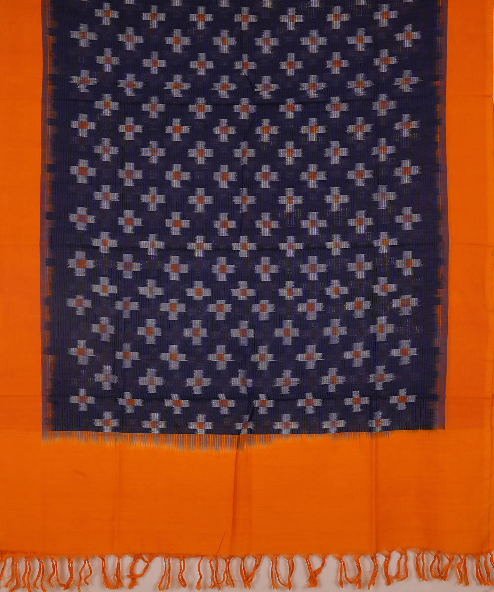 Dark Blue and orange Handwoven Pochampally ikat cotton Dupatta