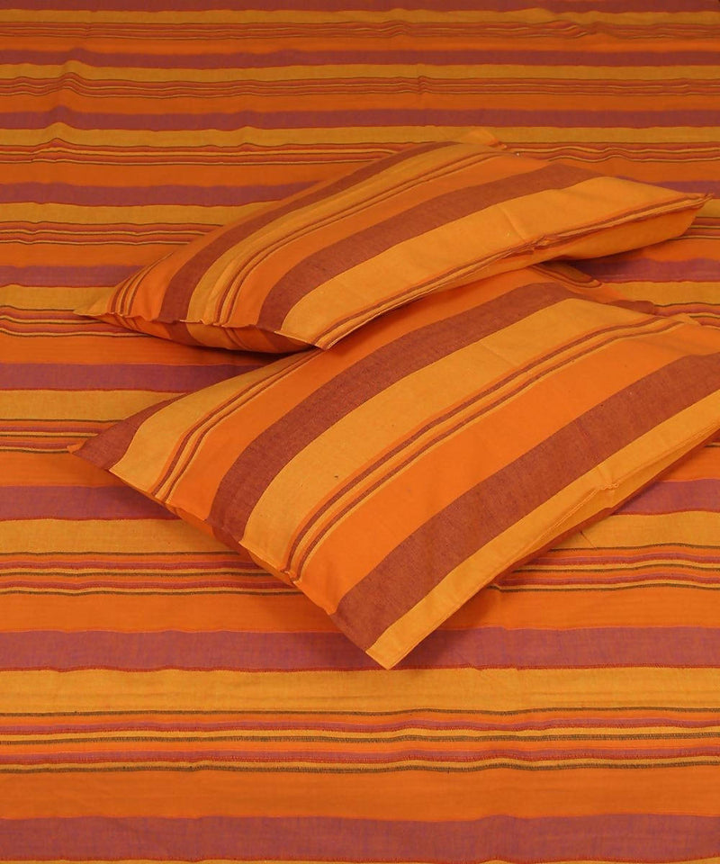 Yellow Orange Stripe Cotton Single Bed Sheet