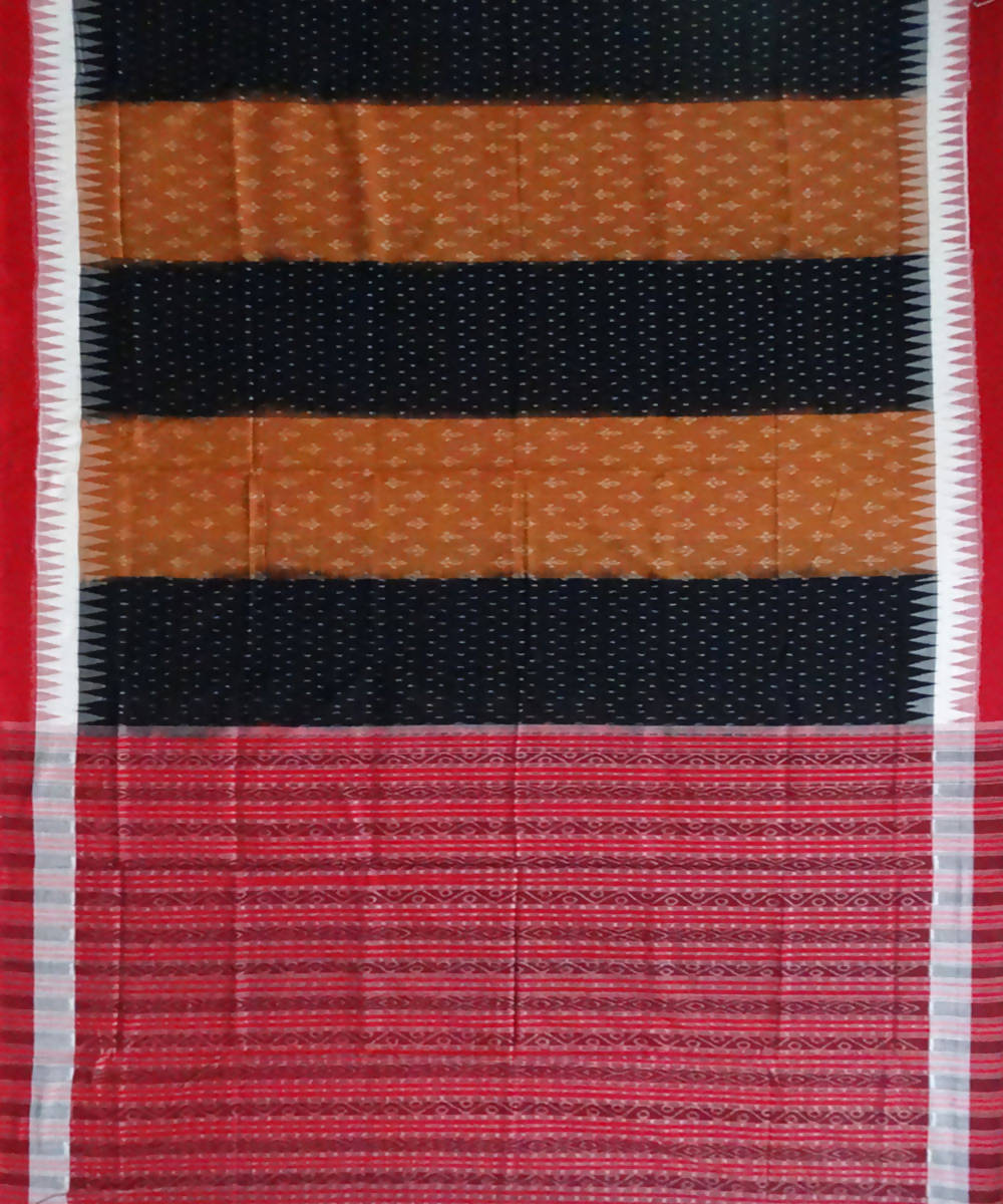 Alloy Orange and Black Sambalpuri Cotton Handwoven Saree