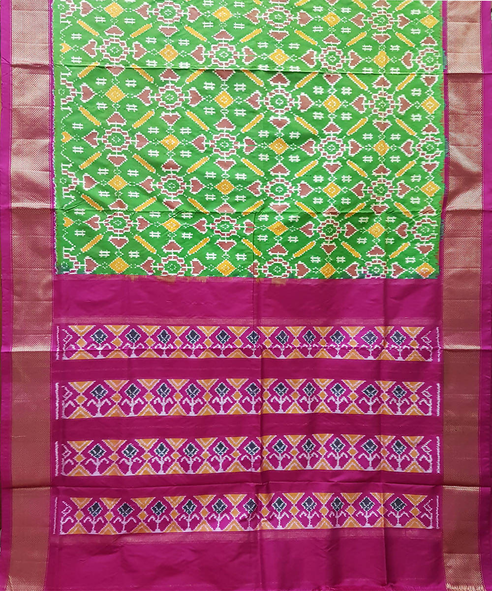 Green and pink handwoven ikkat silk pochampally saree