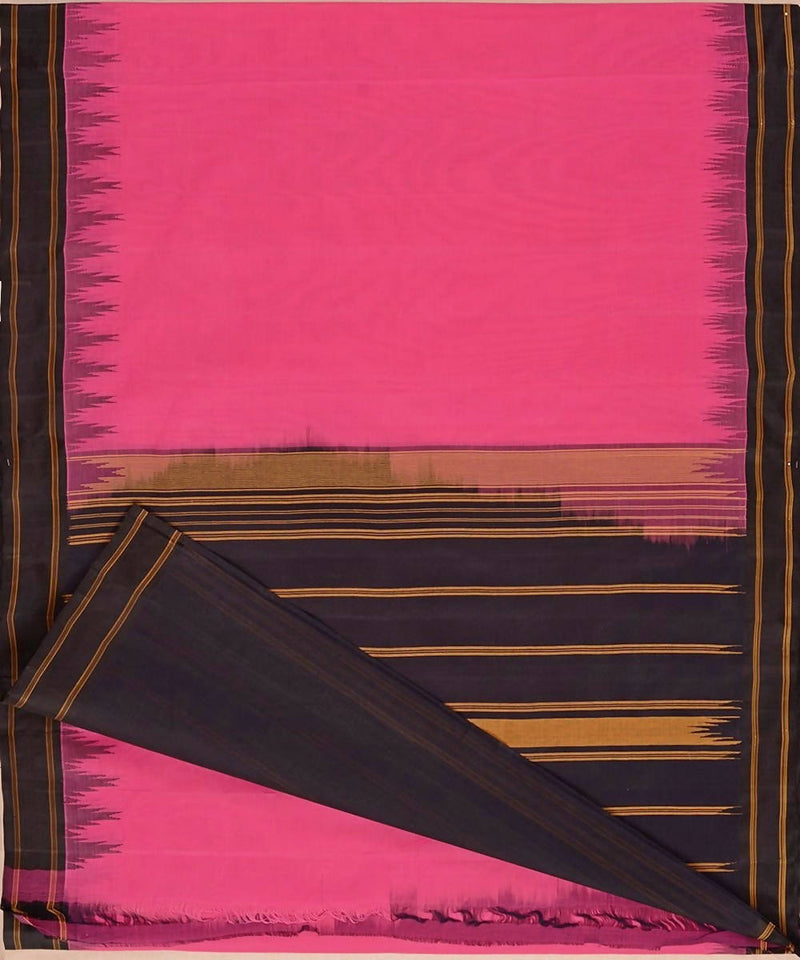 Pink kanchi cotton saree black silk korvai temple border