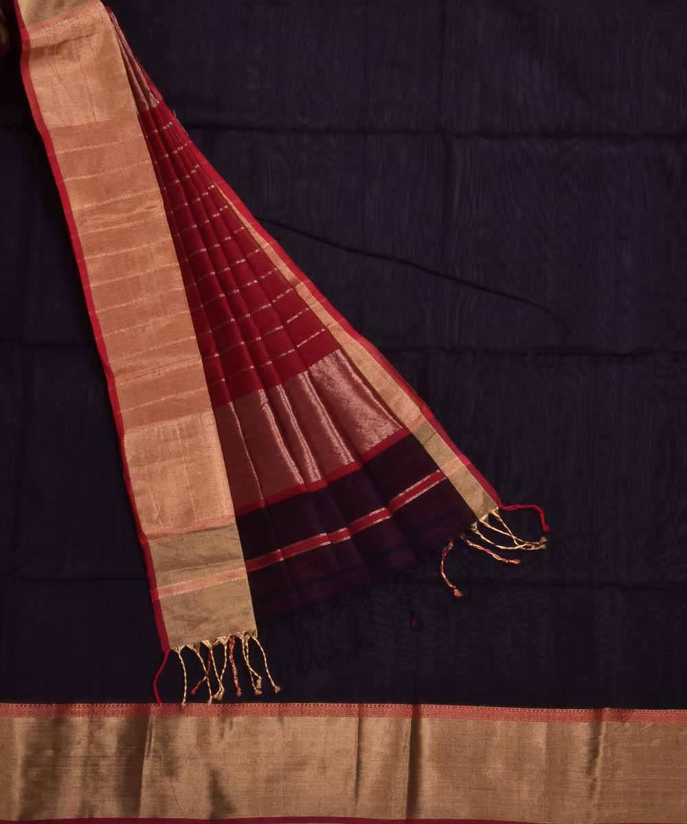 Handwoven Black Red Maheshwari Sico Saree