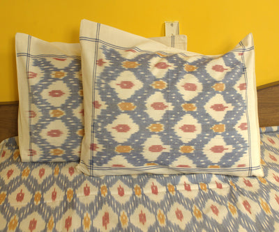 Blue and White Handloom Ikat  Bed Sheet