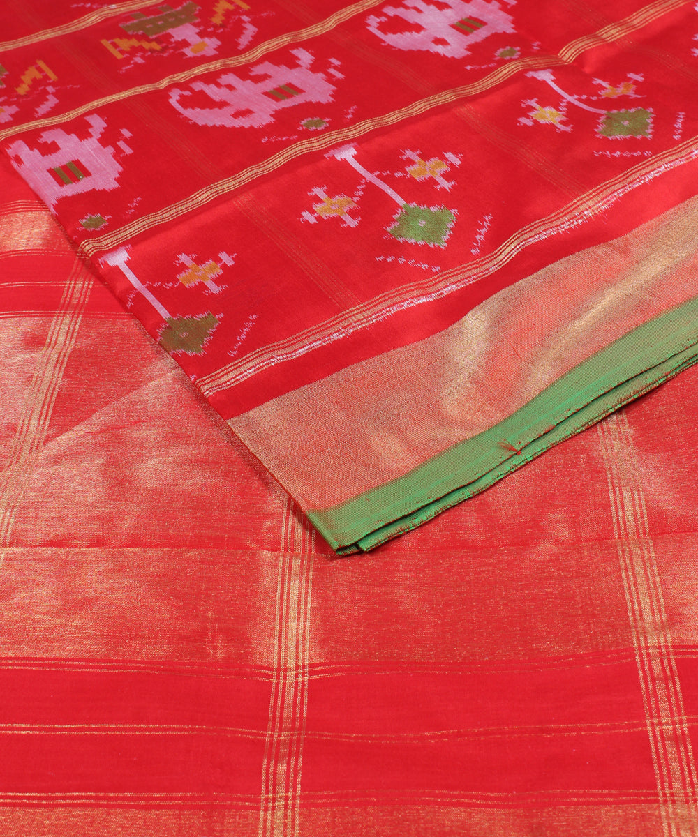 Red Orange Handloom Ikkat Checks Silk Saree
