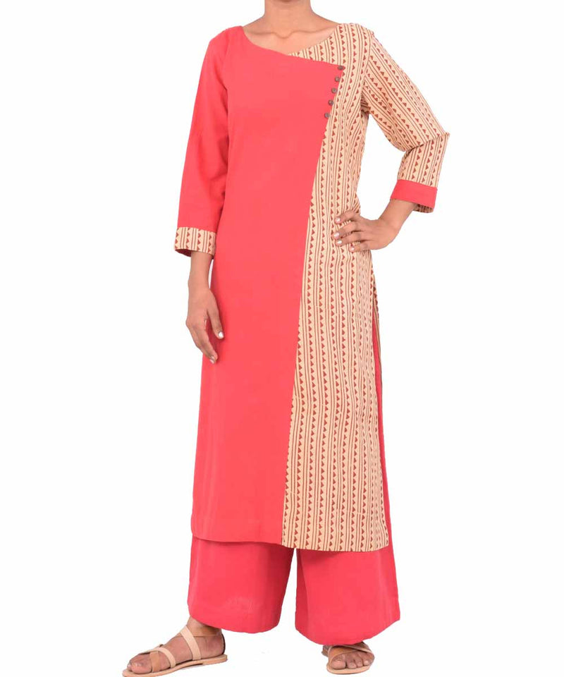 Red and Beige Handwoven Printed Kurti
