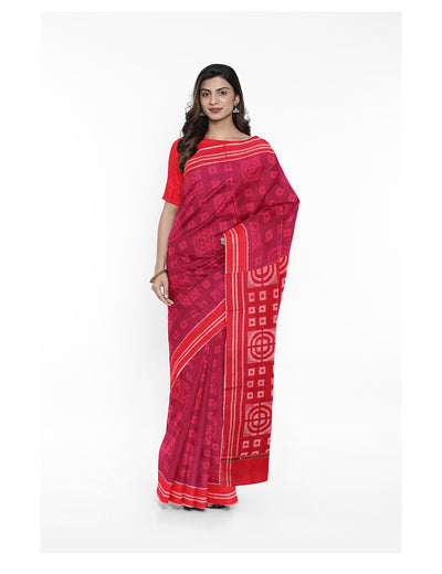 Red Sambalpuri Cotton Handloom Ikat Saree