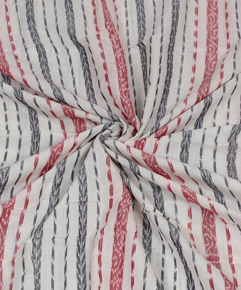 Nuapatna Handwoven Cotton White Stripe Fabric